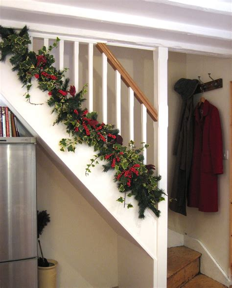 christmas decorations decorating stairs  stair railing