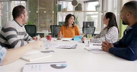diverse business meeting accepting stock footage