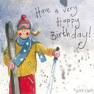 details  ski girl birthday card  alex clark skis
