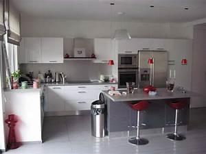 cuisine ouverte photo 2 3 3496858 With salle À manger contemporaine avec cuisine blanc et gris anthracite