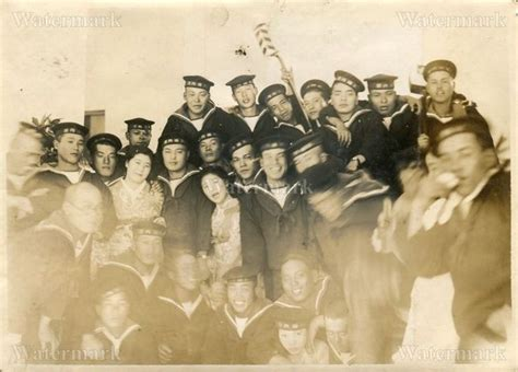 Original Wwii Japanese Photo Navy Marine Soldiers, Party
