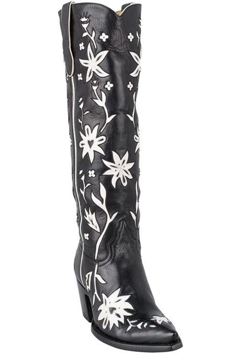 liberty boot  womens black  white  cowgirl boots pinto ranch