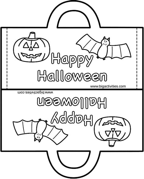 halloween bag paper craft black  white template