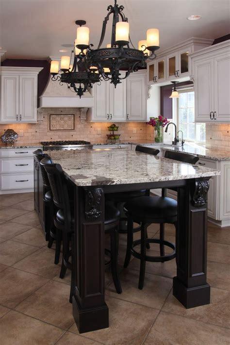 white painted glazed perimeter cabinets cherry island  custom corbels granite