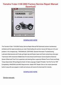 Yamaha V Star 1100 2002 Factory Service Repai By