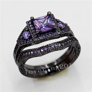 Amethyst and black diamond rings wedding promise for Amethyst diamond wedding ring set