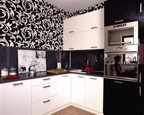 Decorating Ideas Wallpaper by White Kitchen Cabinets And Modern Wallpaper Ideas For