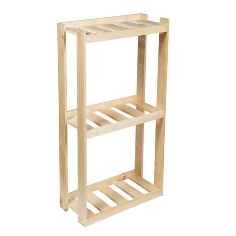 Crates & Pallet 31 In 3shelf Wood Shelving Unit In