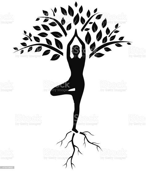 Download 10,351 yoga free vectors. Yoga Tree Pose Silhouette Stock Illustration - Download ...