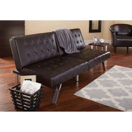 walmart faux leather futon mainstays faux leather tufted convertible futon
