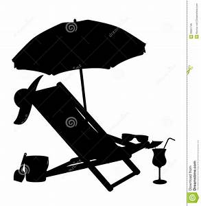 Silhouette Of Beach Chairs And Umbrellas Vector Il Stock ...