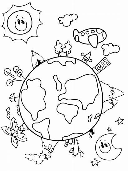 Earth Drawing Drawings Hands Coloring Happy Easy