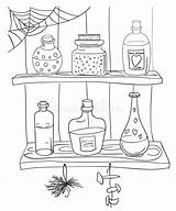 Potion Coloring Magic Witch Pozione Alchemy Magica Dryck Pagina Vector Kleurplaat Illustratie Coloritura Magische Voorraadkast Illustrationer Pantry Stile Doodle Shelf sketch template