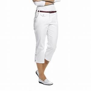 Pantacourt femme, Blanc, Coton et Stretch, Pattes