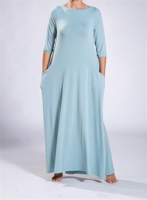 horizon t shirt dress pockets boatneck 3 4 sleeves elastic