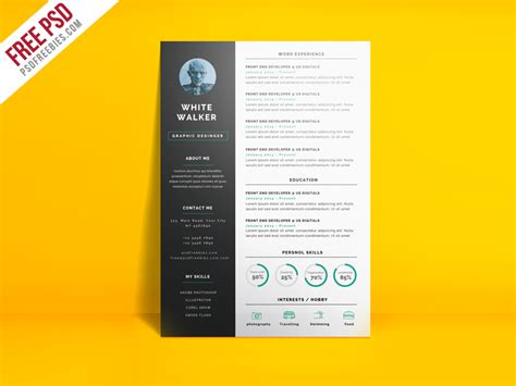 Clean Resume Template Psd by Simple And Clean Resume Cv Template Free Psd Psdfreebies