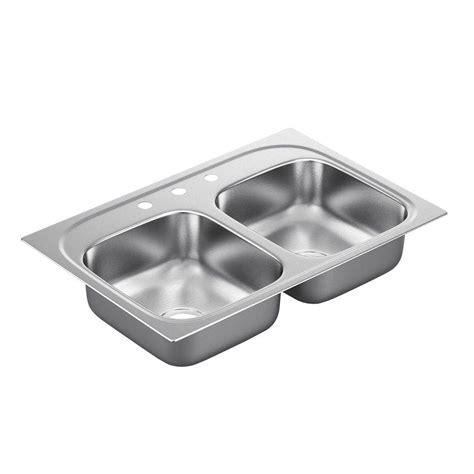 hole in sink basin moen 2200 series drop in stainless steel 33 in 3 hole