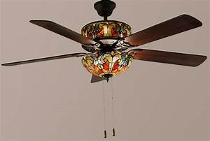 Tiffany style quot halston double lit stained glass ceiling fan spice new