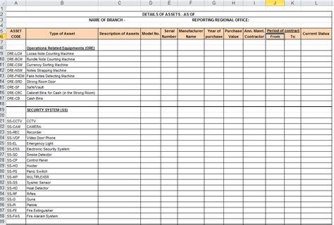 asset register format  excel