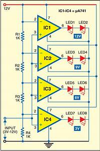 Led Voltmeter Note  You Can Use Lm324 Instead Of  U03bc741