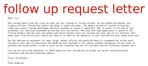 follow up request letter sles business letters