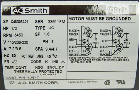 1 2 hp 115 208 230 volt ac 3450 rpm motor ao smith 4ub47