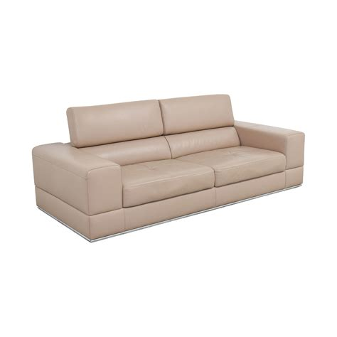 82% Off  Lazzoni Lazzoni Beige Leather Sofa  Sofas. Cabinets To Go Tampa. Coral Colored Table Lamps. Modern Faucet. Dining Room Table Dimensions. White Chair With Wooden Legs. Gray And Yellow Decor. New Cabinets. Master Bath