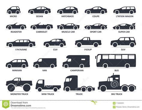 Car Type Icons Set. Model Automobile. Vector Black