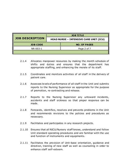 Neonatal Description And Duties by Intensive Care Unit Icu Description