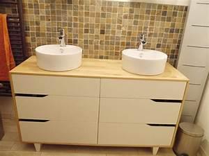 Commode Pour Salle De Bain : meuble salle de bain double vasque ~ Teatrodelosmanantiales.com Idées de Décoration