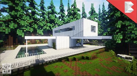 minecraft white modern wooden house build review  youtube