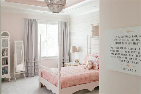shiplap accent wall in pink girl room transitional