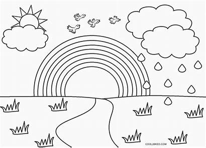 Rainbow Coloring Pages Printable Toddlers Simple