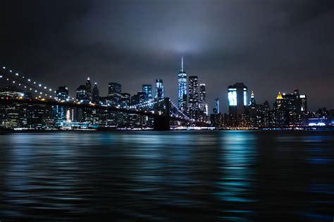 wallpaper  york city brooklyn bridge city lights