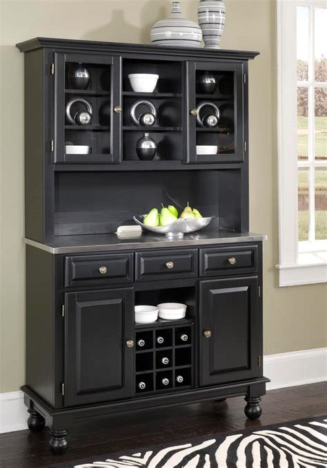 Home Styles Premium Buffet with Stainless Top and Hutch