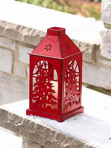 Red, Flameless, Christmas, Candle, Lantern, With, Cut, Out, Tree, -, Dual, Timer