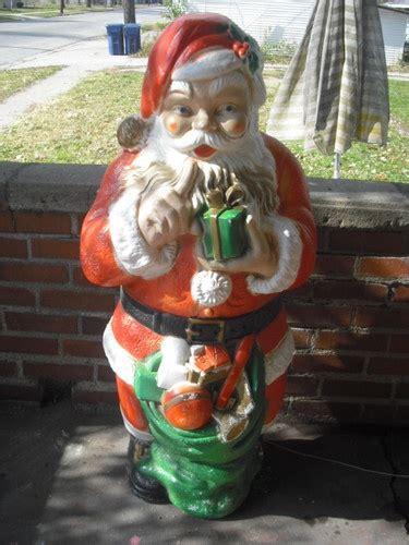 vintage christmas blow mold  poloron santa  bag