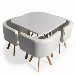 Table Et Chaise De Cuisine : table et 4 chaises encastrables blanc paolo ~ Teatrodelosmanantiales.com Idées de Décoration