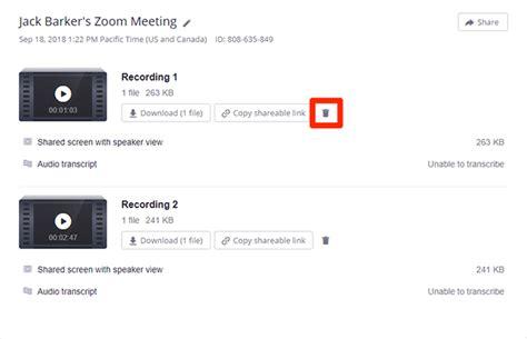 cloud zoom recording delete recordings meeting file transcript transcription audio transcribe admin panel downloaded edit