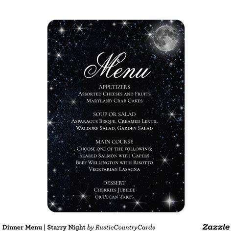 dinner menu starry night zazzlecom  images