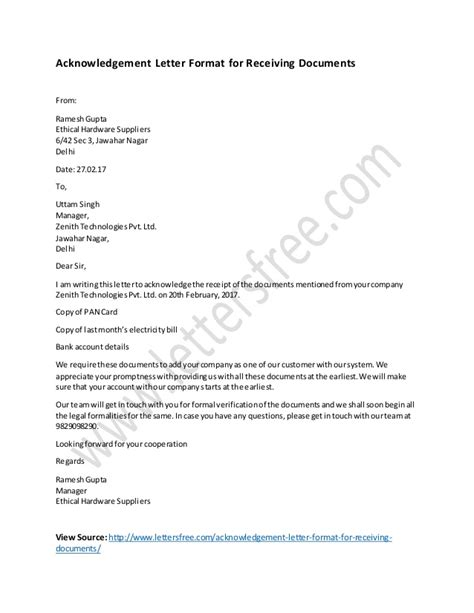 acknowledgement letter format  receiving documents