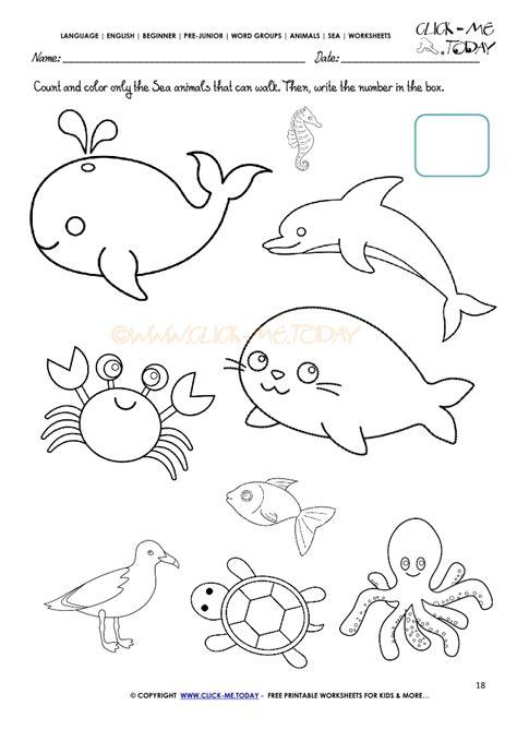 sea animals worksheets for preschoolers sea animals worksheet activity sheet color 18 614