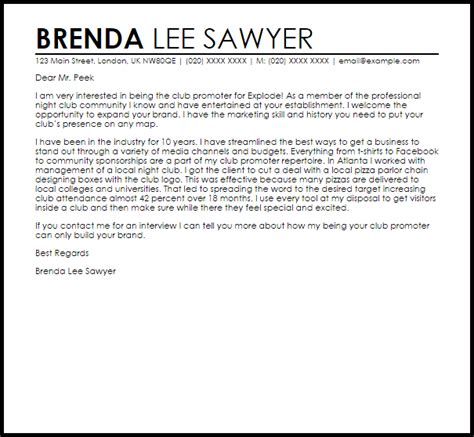 club promoter cover letter sample cover letter templates examples