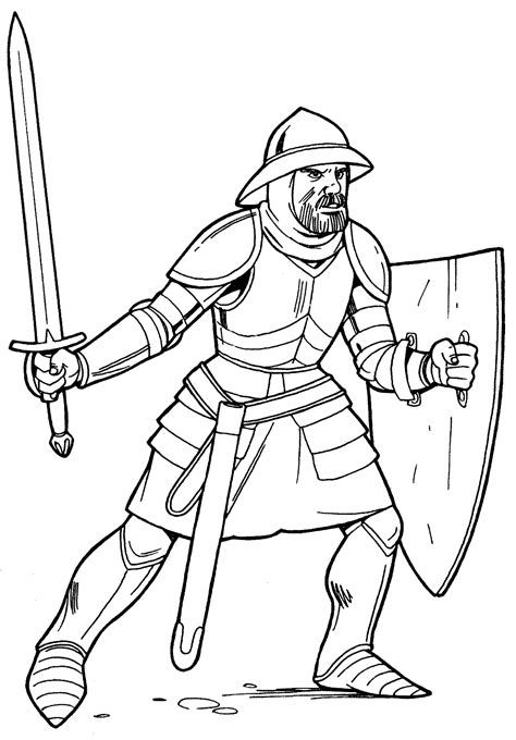 coloring page knight  light armor