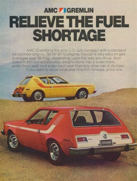 Best Gas Saving Cars by An Original 1974 Advertisement For Amc Gremlin Featuring