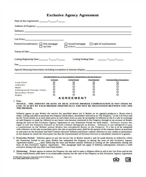 agency agreement form samples  word  pages