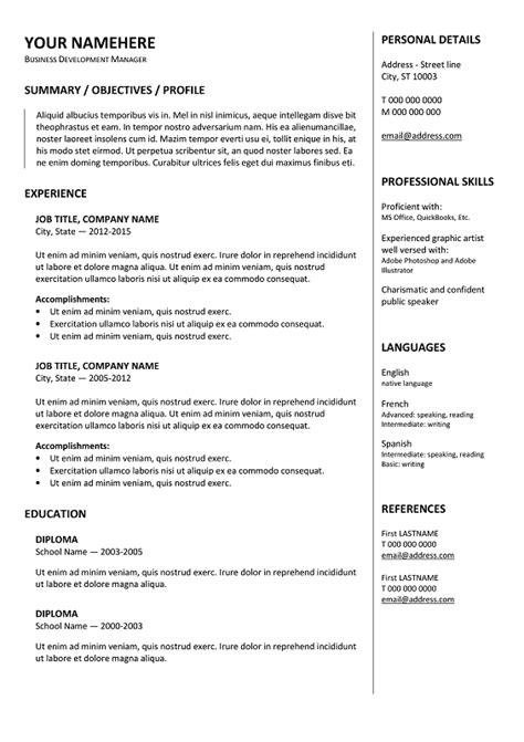 gastown  traditional resume template