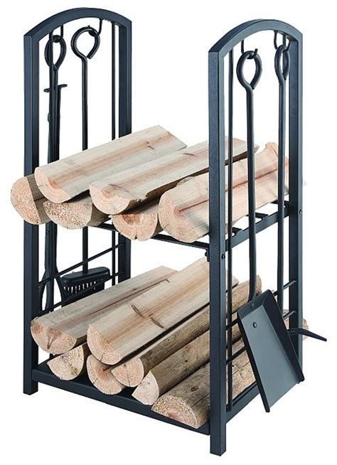 metal wood rack wc07 73cm h black hd steel wood rack w fireplace 4 tool set ebay