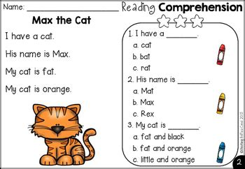 free kindergarten reading comprehension by teaching