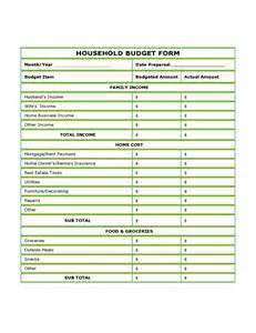 Blank Household Budget Forms